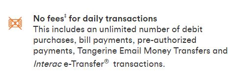 Tangerine No fees chequing account