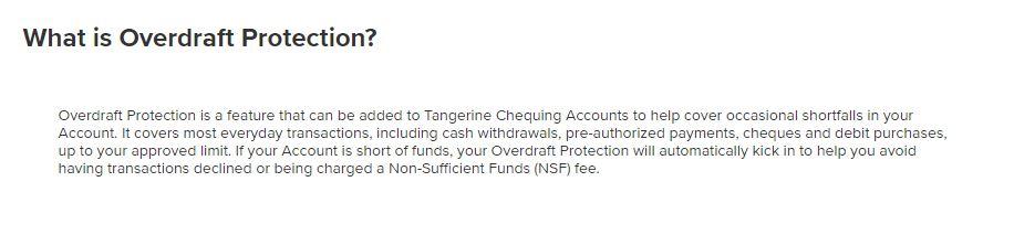 Tangeine Overdraft Protection