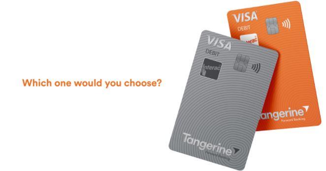 Tangerine's Visa Debit Card Colors