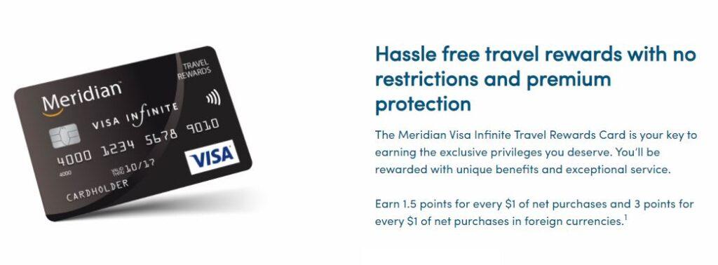 Meridian Visa Infinite Travel Rewards Card