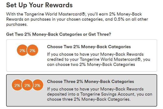 Tangerine Credit Card 3 Categories if cash back into saving account