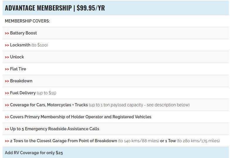 Access Roadside Assistance Advantage Membership