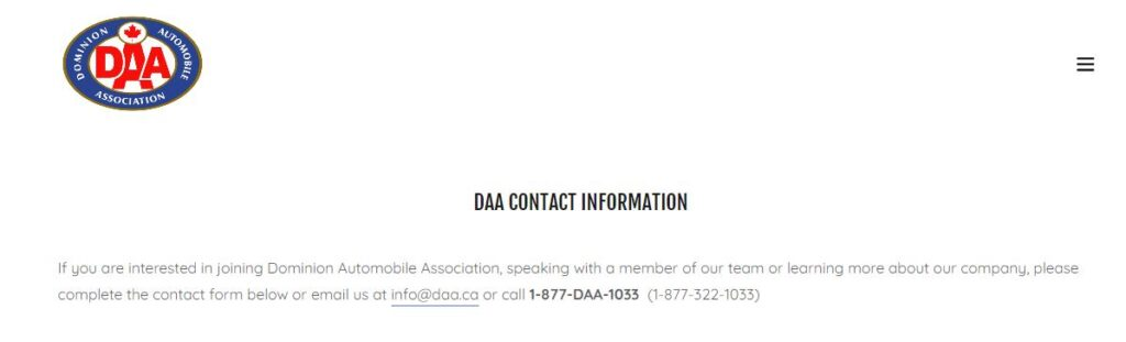 DAA Roadside Assistance Contact Information