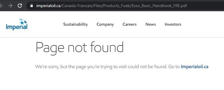 ESSO Page Not Found