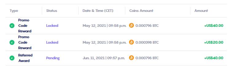 My Received Celsius Rewards in BTC