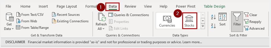 Microsoft Excel Stocks Data Type