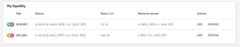 Liquidity Mining Earning from CakeDeFi