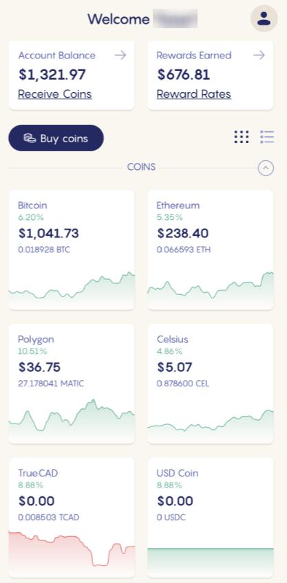 Celsius Exchange App's Main Page