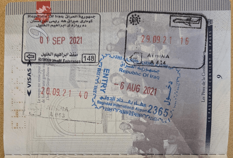 Iraqi Entry (By Air) & Exit (By Land) Stamps on My Daughter's Canadian Passport